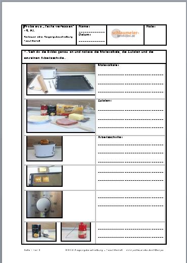 vorgangsbeschreibung toast hawaii lern und bungshilfen f r die grund und mittelschule. Black Bedroom Furniture Sets. Home Design Ideas