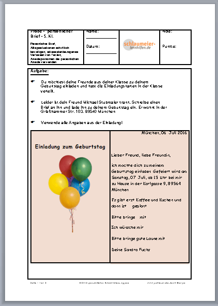 Brief-Einladung zum Geburtstag Lern- und Übungshilfen für die Grund ...