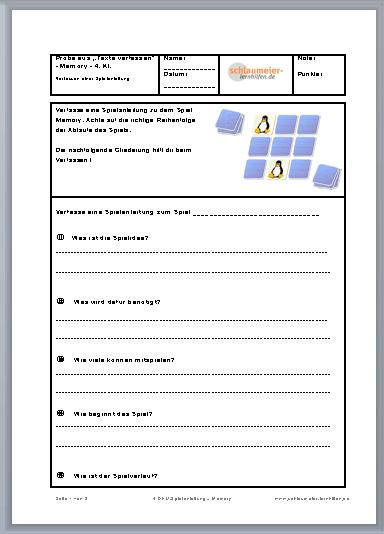 Spielanleitung Schreiben